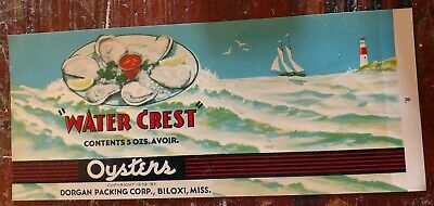 WATER CREST OYSTER TIN CAN LABEL #2 1940'S File Copy BILOXI MISSISSIPPI