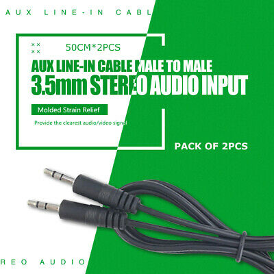 AUX Line-in Cable 3.5mm Stereo Audio Input Male to Male Auxiliary Car Cord 0.5m