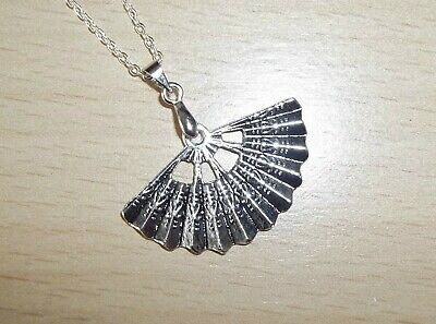 TIBET SILVER CHINESE FAN PENDANT REAT DETAIL & 18 inch CHAIN
