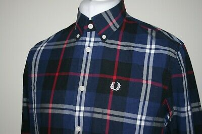 FRED PERRY FRENCH Navy BlueBlackRed Window Pane Check LS