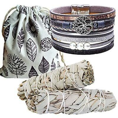 Sage Smudge Kit & Silver Leather Tree of Life Cuff Gift Set