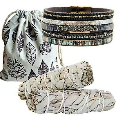 Smudging Sage Kit Smudge Bundles 2 Pack Gift & Rhinestone Layered Leather Cuff