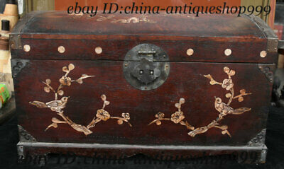 "16"" Chinese Huang Huali Wood Inlay Shell Bird Storage Jewelry Box Treasure Case"