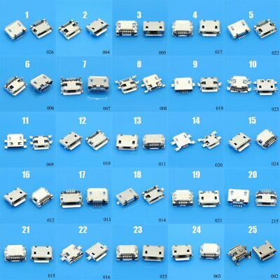 25Models 25-100pcs Micro USB 5Pin jack tail sockect, Micro Usb Connector port