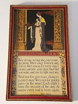 "VINTAGE FRAMED MOTTO ""OPPORTUNITY "" * 1920's * GIBSON? * ART DECO *"