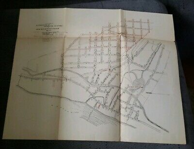 Antique 1895 Extension Sewerage System Map For Mechanicsville New York Ny Rare