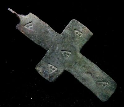 Viking Bronze Cross Pendant with triangle decoration 900-1000 AD