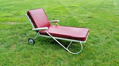 Mid Century Modern 1950 Vtg Aluminum Rolling Reclining Chaise Lounge Pool Patio