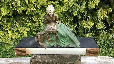 Stunning Vintage French Art Deco Spelter Lady & Dog On Marble Base SIGNED *
