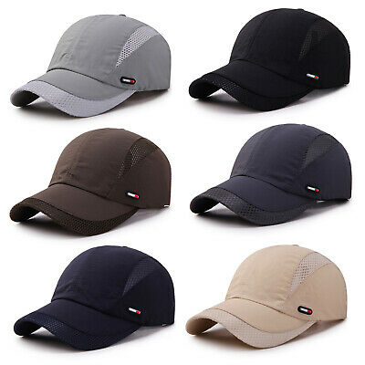 Mens Plain Mesh Casual Summer Baseball Sun Hat Outdoor Visor Breathable Golf Cap