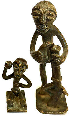 PAIR of ANTIQUE AFRICAN BRONZE SCULPTURES, TRIBAL WARRIOR FATHER & SON,  BAULE