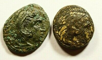 LYSIMACHOS & ALEXANDER the GREAT - RARE MIXED LOT OF 2 ANCIENT GREEK COINS