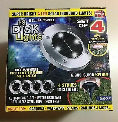 Bell + Howell Super Bright 4 Led Solar Disk Color Lights Blue Red Green Yellow