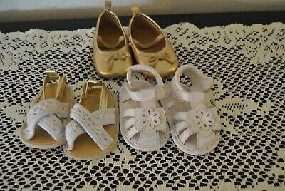 Three Pairs of Baby shoes Two Sandals and One pair of shoes