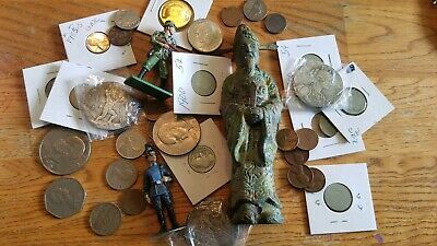Coins Tokens Medals Lot Junk Drawer Silver Dollar Estate Sale Toys Vintage us