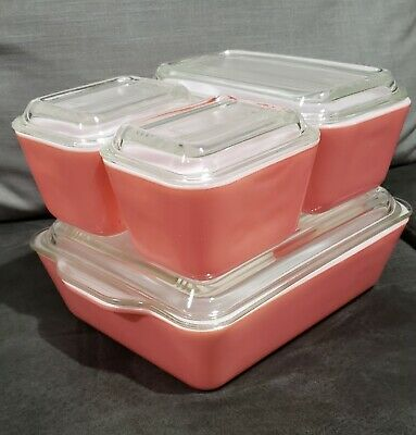 Vintage Pyrex  Pink Refrigerator Dishes Beautiful 8 Piece Set
