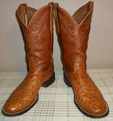 Women's 10 AA Nocona Full Quill Ostrich Peanut Brittle Cowboy Western Boots EUC