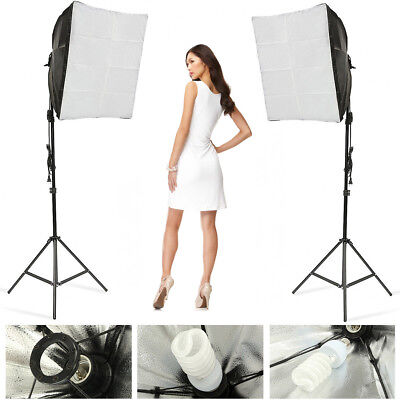 Photography Photo Studio Video Continuous Lighting Kit Softbox Bulb Light Stand