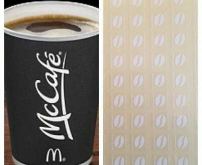 60 Mcdonalds Hot Drinks (Coffee) stickers - 10 Drinks (Save Over £12)