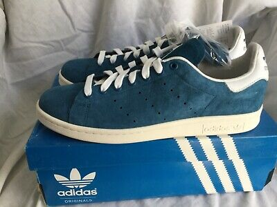 Adidas Originals Stan Smith Lace Up Blue White Leather Mens Trainers UK 8.5 New