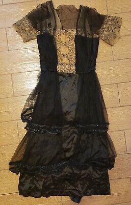 Vintage 1910s 1890s Victorian Art Nouveau Black Silk Jet Bead Mourning Dress XS