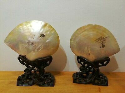 "Large 11.5"" Antique Chinese Mother Of Pearl Shells On Carved Hardwood stands"