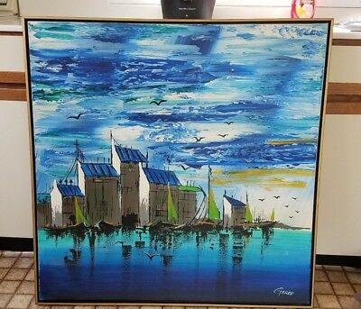 HUGE VTG Mid Century Waterfront Sunset Original Canvas Oil Painting Signed Garee