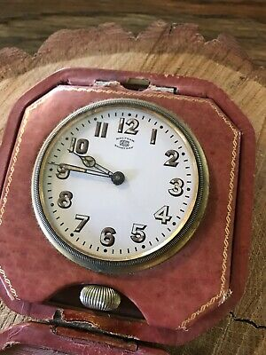 VINTAGE WALTHAM CROSS 8 Eight Day Clock in Leather Case Untested Watch Art Deco