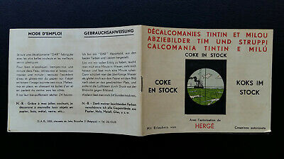 Tintin Kuifje Tim Décalcomanies version suisse 1964 Coke Stock complet superbe!