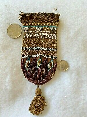 ANTIQUE 1832 Micro Bead Reticule Purse,Name, Anchor, Mourning Trees Design BIN