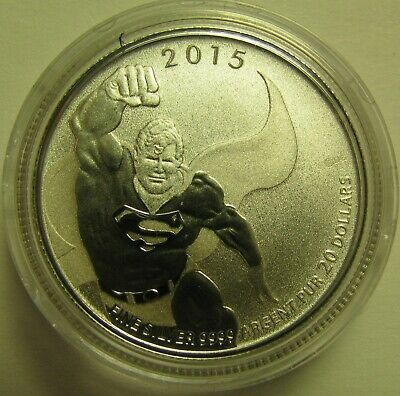 2015 Specimen $20 for $20 #18-DC Comics Superman Canada .9999 silver COIN ONLY t