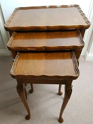 Vintage French Louis XV Style Oak - Nest of 3 Tables