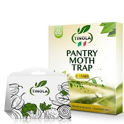 TINOLA Pantry Moth Trap 6-Pack - Sticky Cardboard with Moth Pheromone Attractant