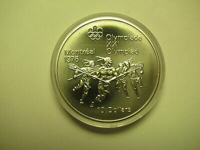 1974 BU $10 1976 Montreal Olympics #9- Lacrosse COIN ONLY Canada .925 silver ten