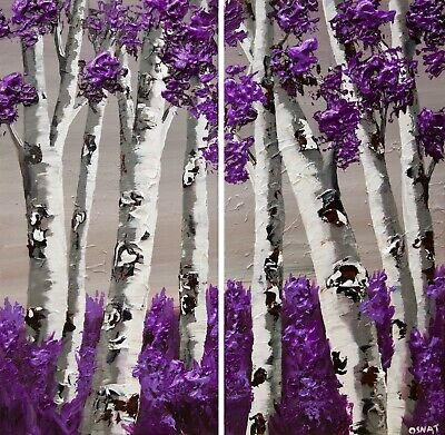 Modern textured gray purple Birch Trees painting abstract painting by Osnat