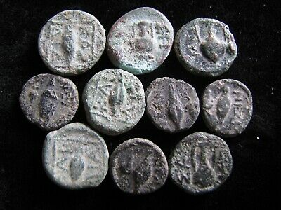 10 Genuine Little Ancient Greek Bronze Coins,Unresearched,Some Great Detail
