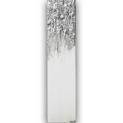 Modern Silver White Wall art, Silver White abstract painting, Large Art Osnat