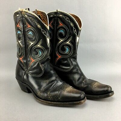 ab5cae91ed9 VINTAGE ACME COWBOY BOOTS PEEWEE INLAY CUT OUT ARROWHEAD Size 9 D ...