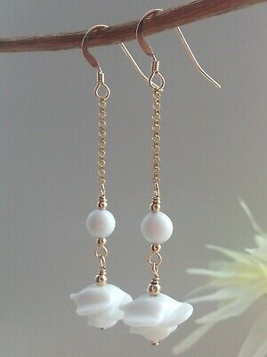 Art Deco White French 'LOUIS ROUSSELET' Glass 14ct Rolled Gold Earrings