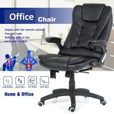Leather Office Chair PC Computer Desk Chairs Swivel Adjustable High Back Black