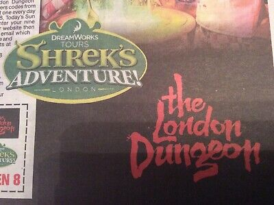 Sun Offer - 2 X Shrek/ London Dungeon Tickets -  All 9 Codes As Required
