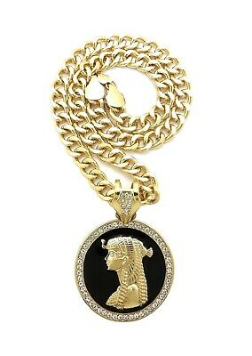 "Mens Gold Egyptian Cleopatra Medallion Pendant Necklace, 9mm 18"" Cuban Chain"