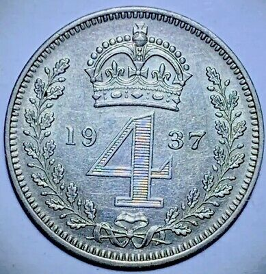GB . King George  VI . 1937 . FourPence   . Maundy  . Nice  Coin.