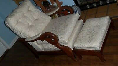 Antique Streit Slumber Chair Recliner & Foot Stool Ottoman Mid Century Modern