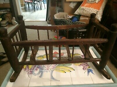 "Antique Primitive Wooden Rocking Doll bed cradle 11"" x 9 "" x 19"" HANDMADE"