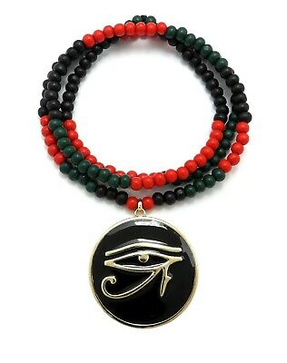 "Gold Egyptian Eye of Horus Medallion Pendant Necklace, 6mm 30"" Wooden Chain"