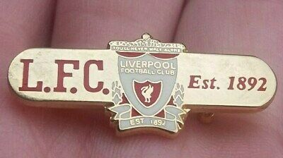 Liverpool Football Club L.f.c Est 1892 Red White & Gold Gilt Pin Badge Vgc