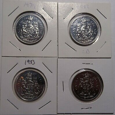 1979, 1982, 1983, 1987 Canada 50 Cents coins