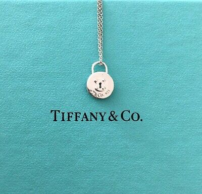 9ff113ca3 Tiffany & Co. round padlock sterling silver charm pendant necklace w/ pouch  16