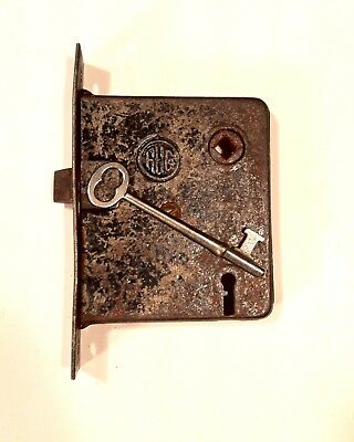 Antique Victorian Era Mortise Door Lock Latch W/ Skeleton Key Works Properly c